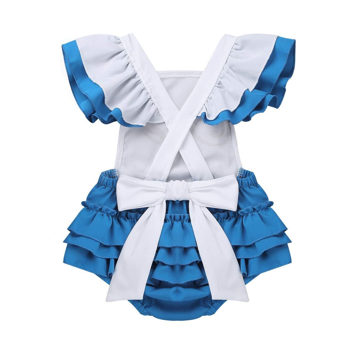 MSemis B/éb/é Fille Tutu Robe Princesse V/êtement 1er Anniversaire Barboteuse Body Combinaison D/éguisement Alice au Pays de Merveilles Costume Carnaval 0-2 Ans