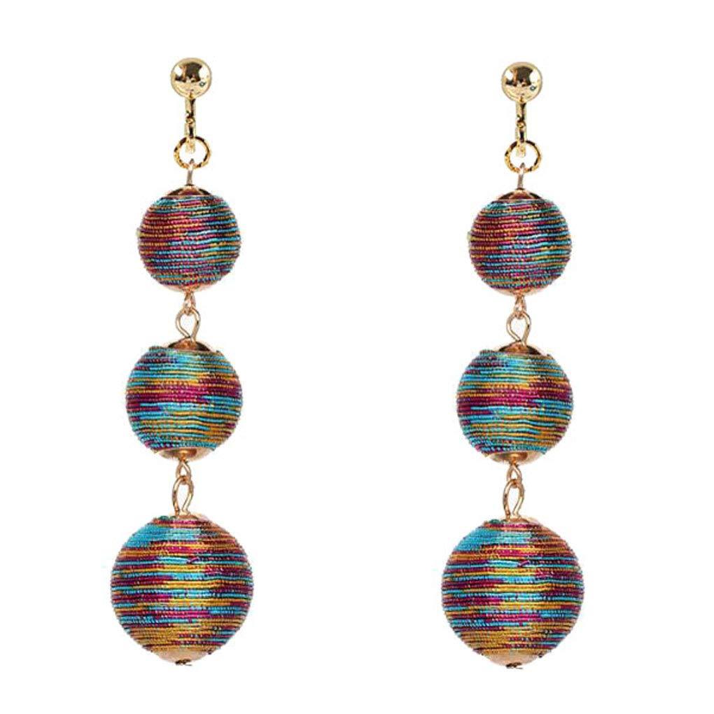 Multicolor Triple Thread Ball Clip on Earrings Dangle Back Screw Jewelry Non-Pierced for Women Girls