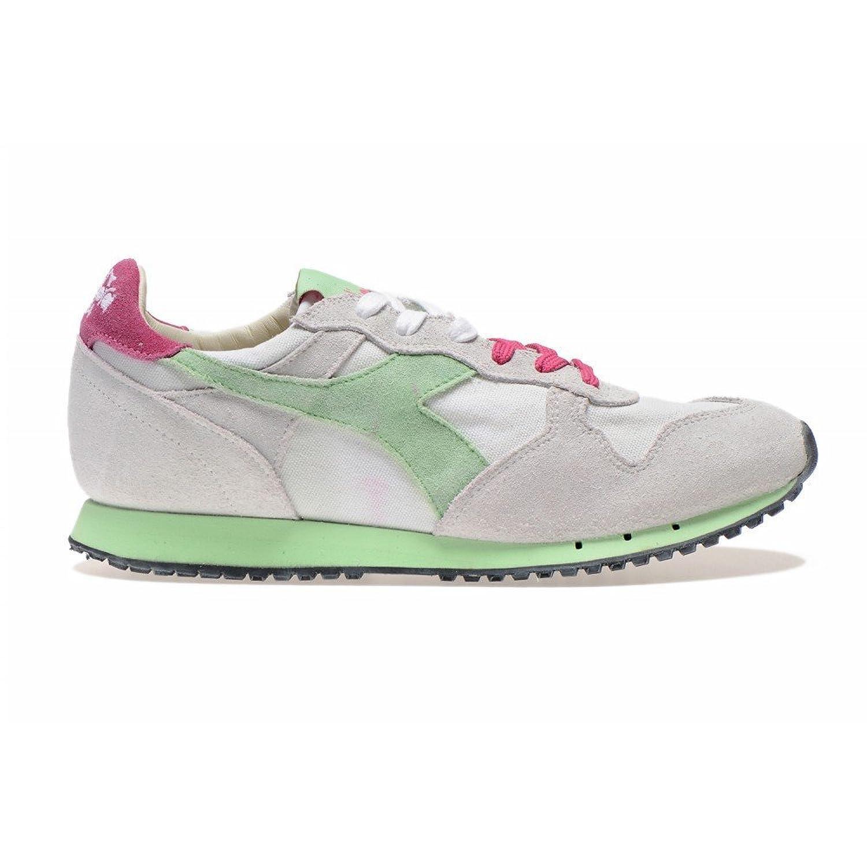 Diadora Heritage Unisex Adulto, Equipe L Perf Stone Wash, Suede/Pelle, Sneakers, Bianco, 36 EU