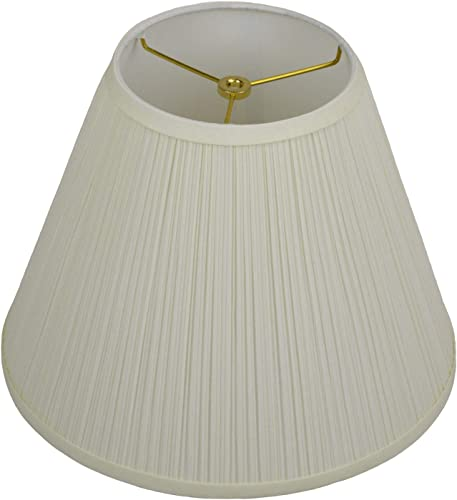 FenchelShades.com Lampshade 7 Top Diameter x 14 Bottom Diameter x 11 Slant Height with Washer Spider Attachment for Lamps with a Harp Pleated Mushroom Cream