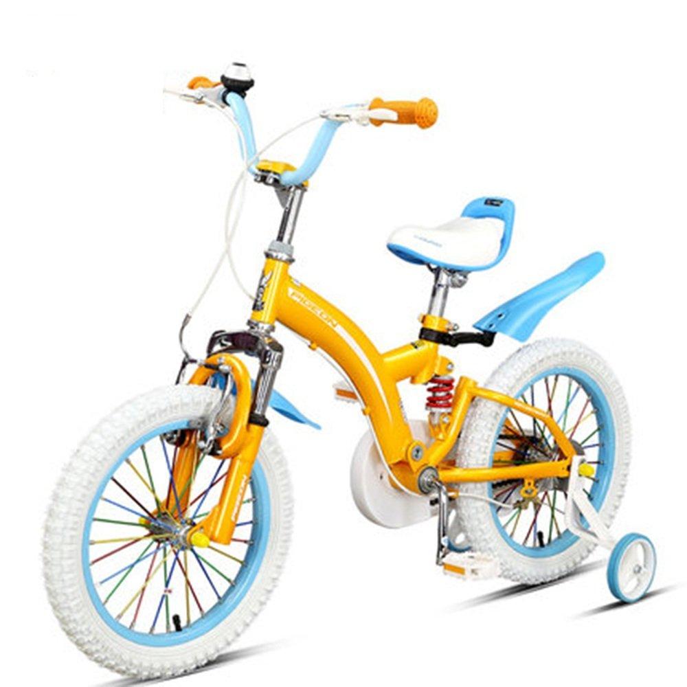 HAIZHEN マウンテンバイク フルフロントフォークとフレームダブルサスペンション子供用自転車はレッドイエローオレンジフロントとリアショックアブソーバです 新生児 B07C6RK92J Orange -14 Orange -14