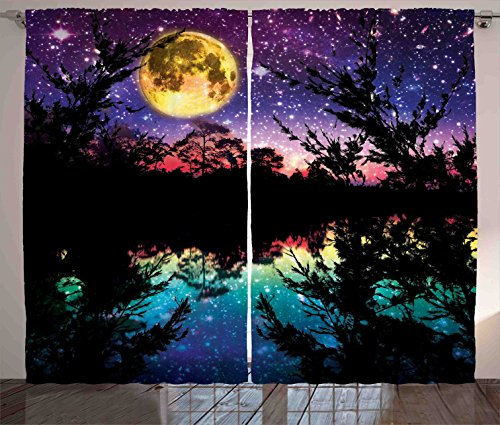 Purple Curtains Decor by Ambesonne, Lake Moonlight Stars Night Sky Trees Contemporary Modern Home Decorating, Living Room Bedroom Window Drapes 2 Panel Set, 108 W X 84 L Inches, Purple Pink and Blue