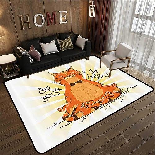 Super Cozy Bathroom Rug Carpet Cartoon Decor Collection,Funny Cat Doing Yoga Wise Sage Animal Humor Mental Life Fun Illustration Print,Orange Yellow Wh 78.7 x 118 Floor Entrance Rug