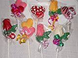 12 Valentine's day Mother's day Hearts and Roses Gourmet Chocolate Lollipops with Ribbon Kids Favors Wedding Favors Baby Shower Bridal Shower Birthday Party Favors
