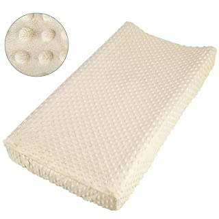 NOZAAM Baby Minky Dot Changing Pad Cover Ultra Soft Changing Table Pad Cover for Diaper Changing Pad (Beige)