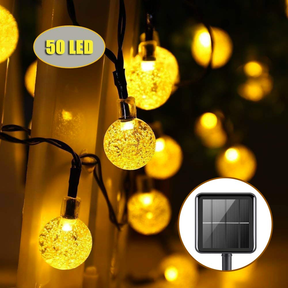 Upoom Garden Solar Lights, 50 LED Outdoor String Lights Garden Crystal Ball Decorative Lights 24Ft Waterproof Indoor Outdoor Fairy Lights for Garden, Patio, Yard, Christmas