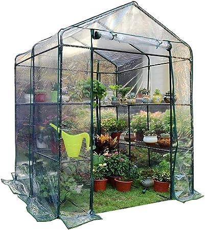 Invernaderos ZLI Jardín de 2 Niveles con Estantes Cubierta de Polietileno Steeple Green House Grow House Cubierta Extraíble, 143x143x195cm (Color : Clear): Amazon.es: Hogar
