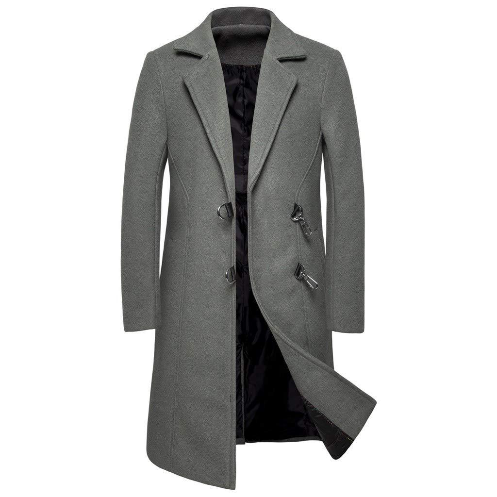 ❣❥HebeTop❥❣ Tops Jacket for Men Overcoat Warm Windbreaker Outwear Slim Long Trench Buttons Coat Gray by HebeTop➟Women's Clothing