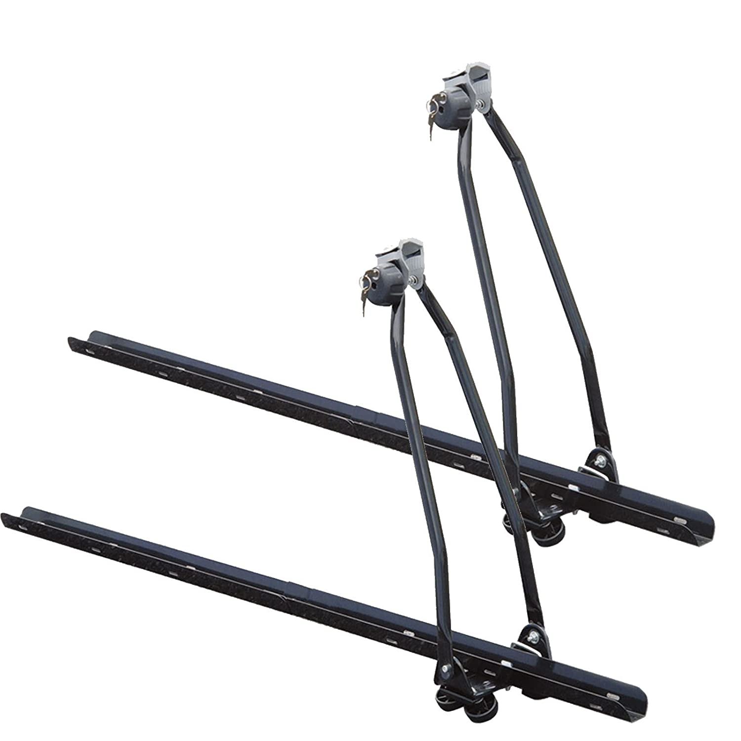 2 x Universal Car Roof Bar Mounted Bicycle Carrier Upright Bike Rack Cycle Locking Marko Auto