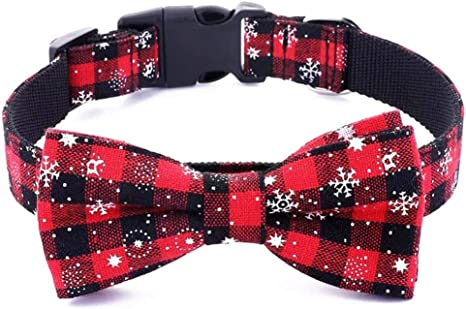 SEALEN Collar de Navidad para Perros y Gatos con Corbata de Lazo ...
