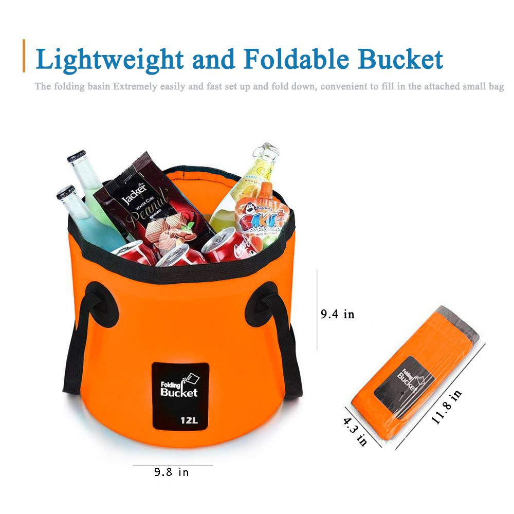 Mrrainbow Collapsible BucketFoldable Water Container 12L Portable Lightweight Pail for CampingTraveling Fishing GardeningWashing Hiking and More