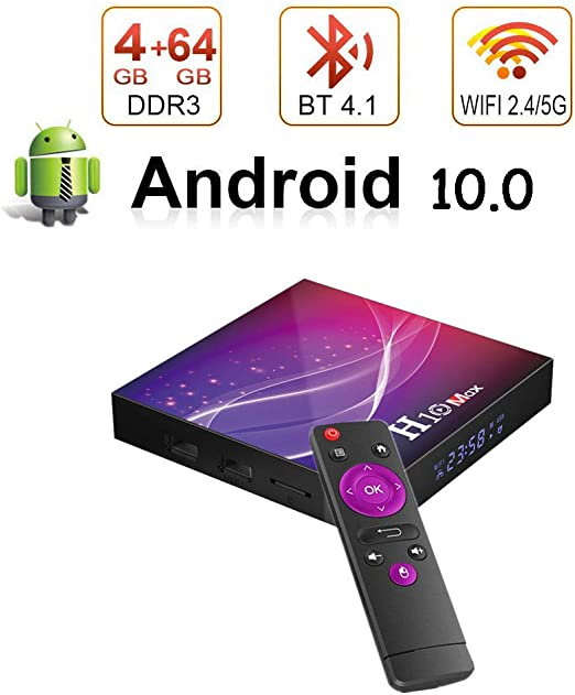 Android 10.0 TV Box H10 MAX, 4GB RAM + 64GB ROM/CPU H616 Quad-Core 64Bit /