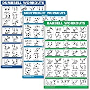 QuickFit 3 Pack - Dumbbell Workouts + Bodyweight Exercises + Barbell Routine Poster Set - Set of 3 Workout Cha