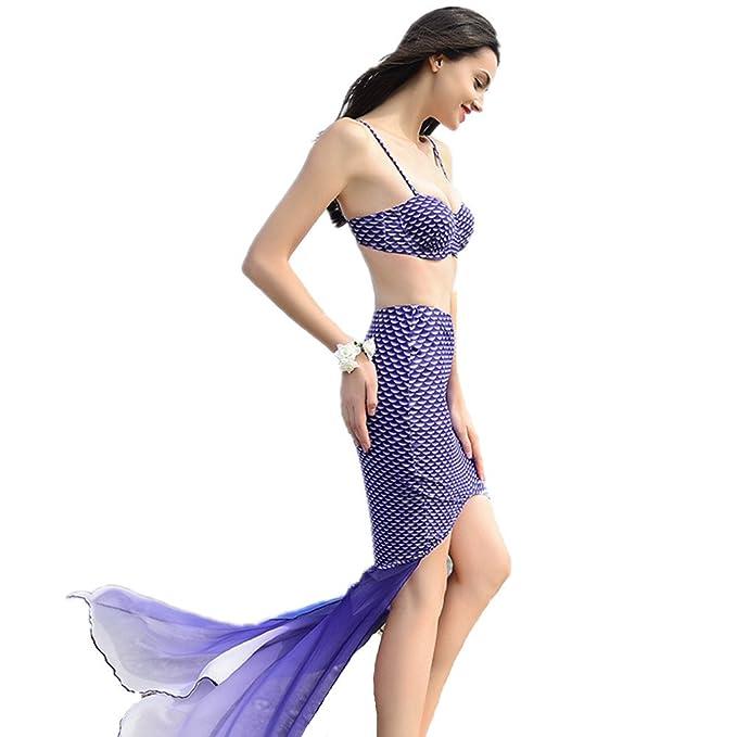Amazon.com: wdart Mermaid Tres conjuntos Swimwear largo ...