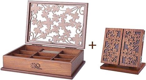 SHKY Caja de joyero de madera con cajones Artesanal con tallas ...