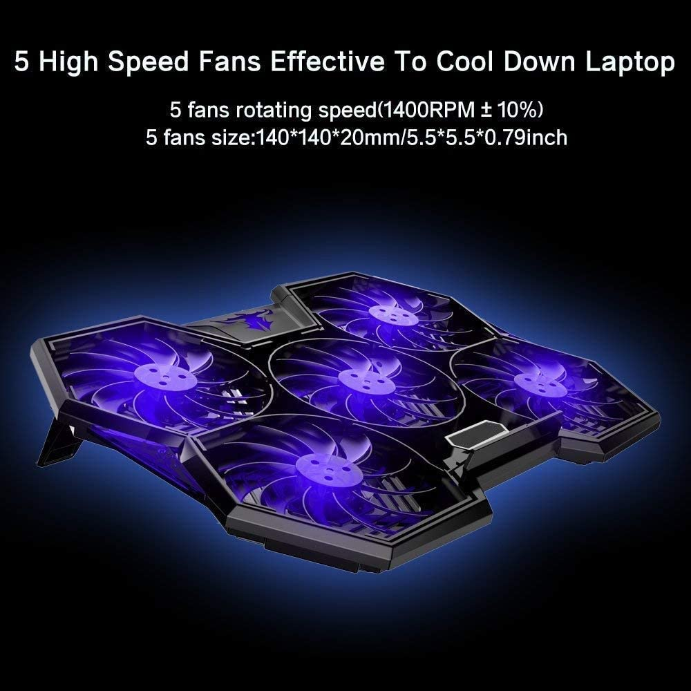 Color : Blue DISS Laptop Cooling Pad Computer Quiet Cooler with 5 Quiet Fans and 2 USB Ports Portable Cooling Stand with LED Light for 14-17 Inch Laptop