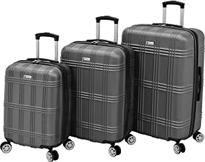 LONDON FOG Kingsbury Expandable Hardside Spinner Luggage, Titanium, 3 Piece Set