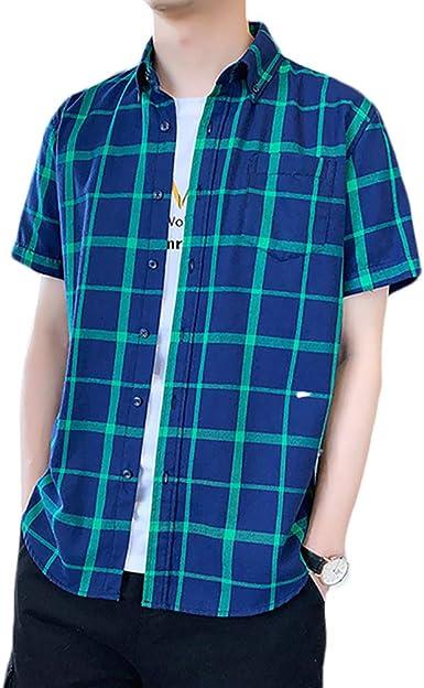 Tmacok Camisa de Cuadros para Hombre, Manga Corta, de algodón Pulido, Estilo Coreano, Ajuste Holgado para Verano: Amazon.es: Ropa y accesorios