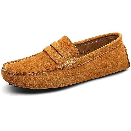 BOLOG Mocasines Caballero Hombre Moda Loafers Casual Suave Gamuza Mocasines de Conducción Zapatos Hecho a Mano Zapatillas Calzado Plano Talla Grande,Marrón ...