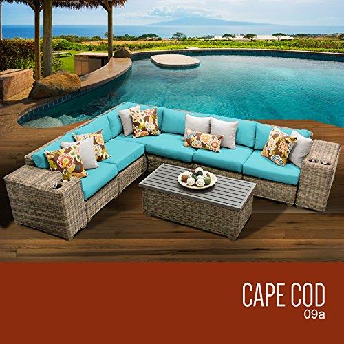 TK Classics 9 Piece Cape Cod-09A Outdoor Wicker Patio Furniture Set, Beige price