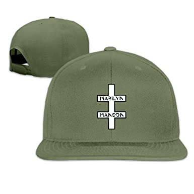 Unisex Marilyn Manson Double Cross Snapback Fit Flat Peak Hat Cap  ForestGreen 17dc5bfc966