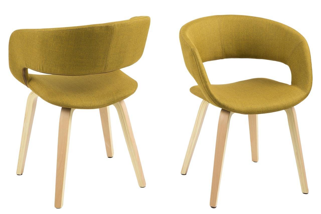6 x Esszimmerstuhl mit Armlehne und Holzbeinen Eiche Ölbehandelt Stuhl Retro Polsterstuhl Designstuhl Vintage in verschiedenen Farben (6er, Curry)
