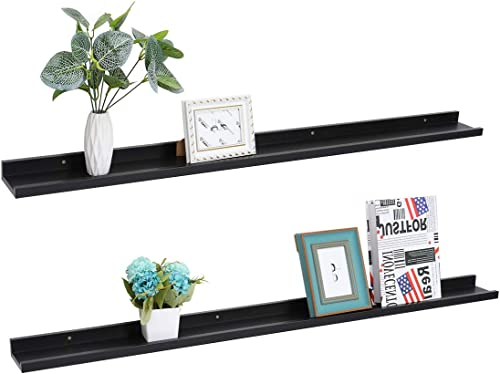 Set of 2 Picture Ledge Floating Frame Shelves Wall Shelf Mounted for Photo Frames Display Black, 59 inch