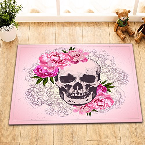 Halloween Skull Rose Mexico Gang Tatoo Decor Stylish Bath Rugs 3D Digital Printing 16x24 Inch Customized Personality Peach Pink Woman Portrait Sketch Outdoor Indoor Front Door Mat Non-slip Bath Mat ()