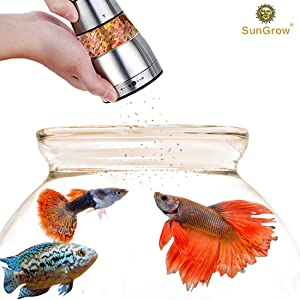 SunGrow Betta Food Grinder - Crusher and Dispenser for Food Pellets and Flakes – Adjustable Coarseness Level - Stainless Steel Body, Durable and Rust-Resistant