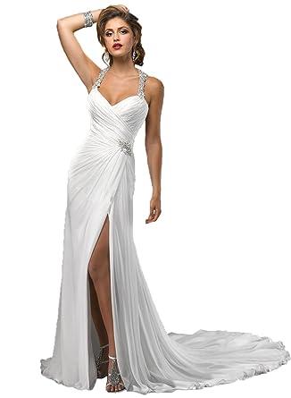 657eef9e9a7 Angel Formal Dresses Women s Halter Sweetheart Beaded Rhinestone Chapel  Train Wedding Dress(2
