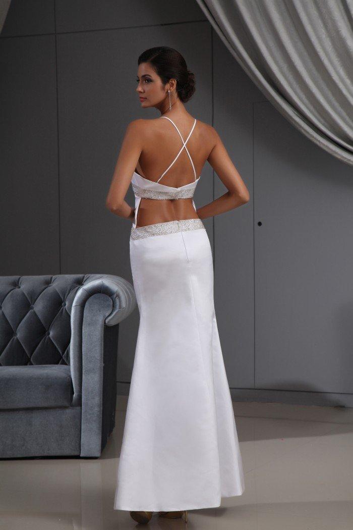 Vestido de novia de satén de espagueti Moderno (blanco): Amazon.es: Deportes y aire libre
