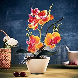 Babycare Pro Orange Artificial Silk Flower, Silk Flower Bouquets Fake Floral Decoration for Home Wedding Office Table (Orange) 96