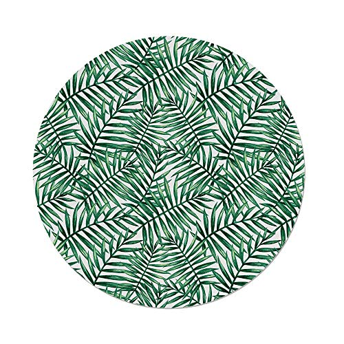 Polyester Round Tablecloth,Leaf,Watercolor Fern Palm Tree Leaves Rainforest Vegetation Freshness Jungle Decorative,Dark Green and White,Dining Room Kitchen Picnic Table Cloth Cover,for Outdoor Indoor