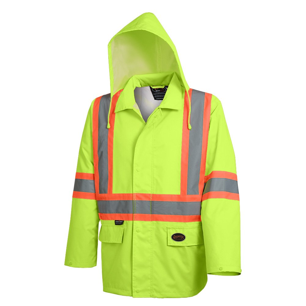 Pioneer V1081360-2XL Hi-Viz  Safety Rain Jacket, Tear and Abrasion Resistant, Green, 2XL