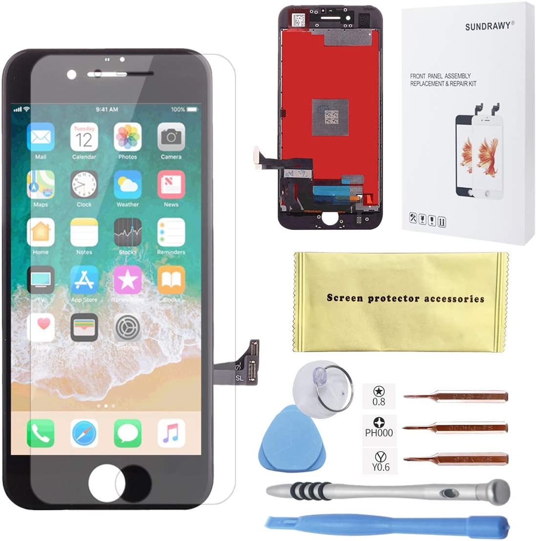 for iPhone 7 Screen Replacement Black LCD Display Touch Screen Digitizer Frame Assembly Full Set Free Tools Professional Glass Screen Protector iPhone 7 (4.7 inches) (Black)