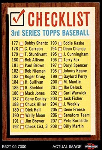 1962 Topps # 192 COM Checklist 3 (Baseball Card) (Has Comma, says #192 Check List, 3) Dean's Cards 7 - NM