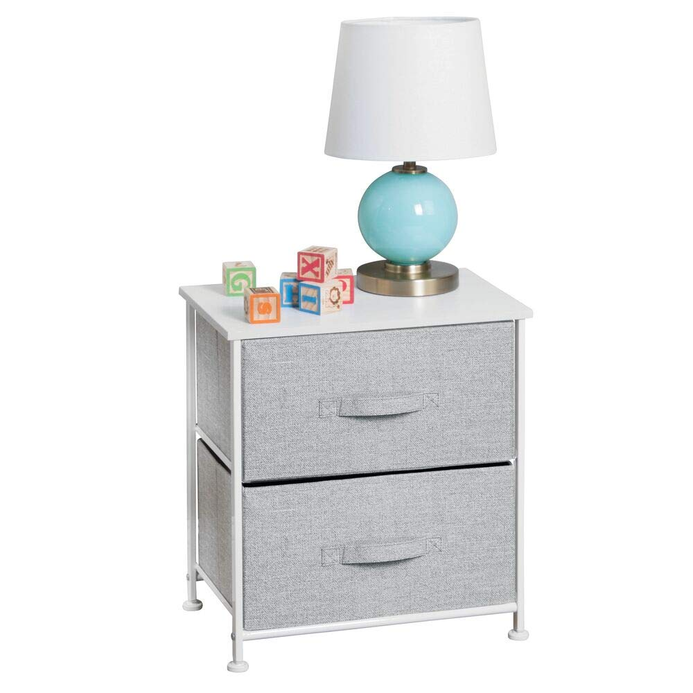 mDesign Short Vertical Dresser Storage Tower - Sturdy Steel Frame, Wood Top, Easy Pull Fabric Bins - Organizer Unit for Child/Kids Bedroom or Nursery - Textured Print - 2 Drawers - Gray/White by mDesign