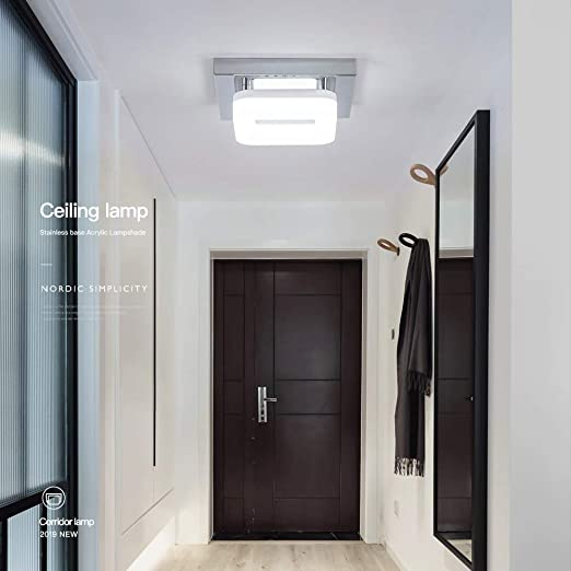 Artpad Montaje en superficie Cuadrado Lámpara de techo de acero inoxidable Base Pasillo Porche Balcón Lámpara Iluminación interior Techo Luz LED 12W ...