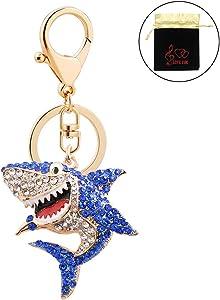 Charm Shark Key Chain Ring Cute Shiny Rhinestone Keychain Accessories with Clip for Girls Boys Women