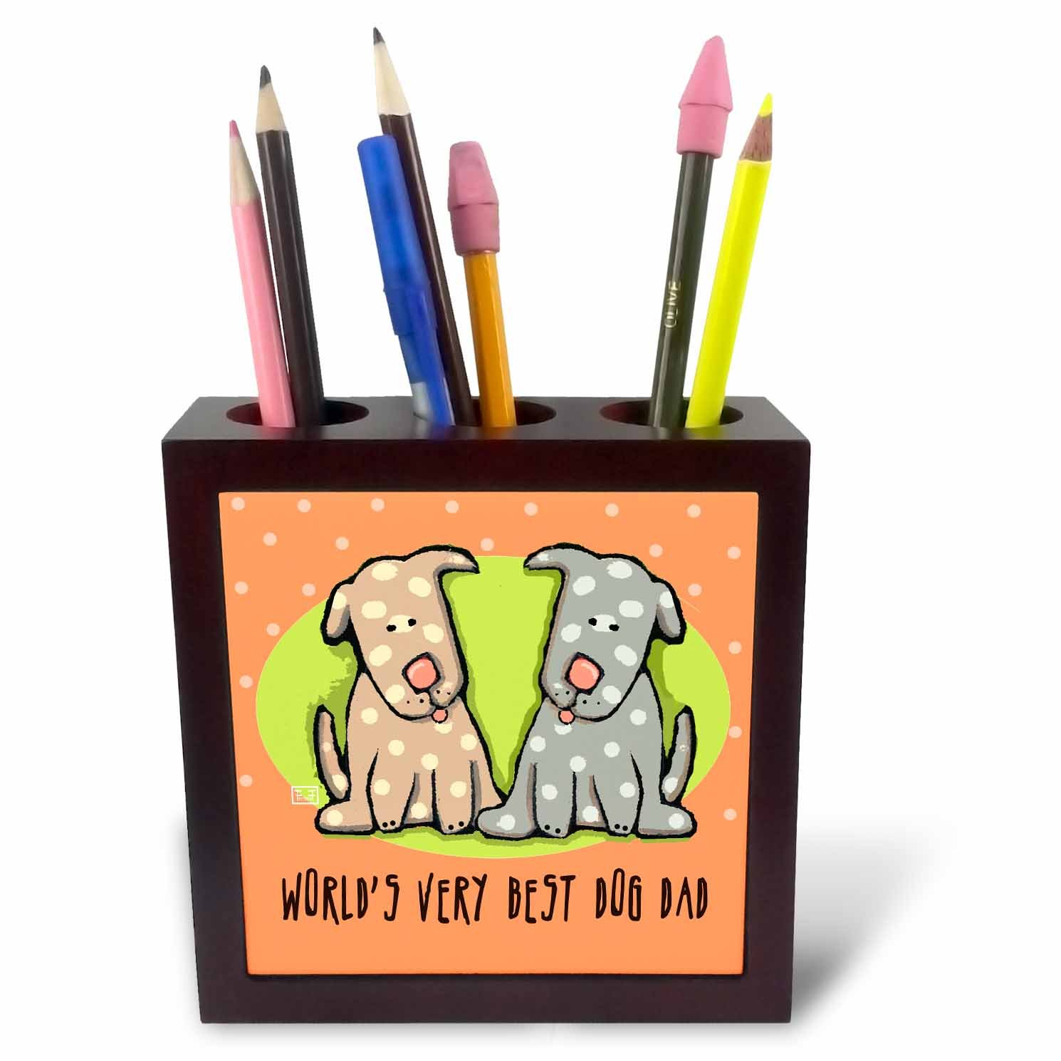 5-Inch 3dRose ph/_33984/_1 World S Best Dog Dad Cute Cartoon Puppies Pets Animals-Tile Pen Holder