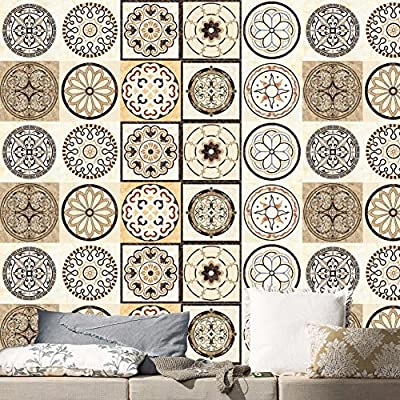 Tracfy Talavera Imitation Ceramic Tile Stickers Wall Stickers 20 PC Set Waterproof Removeable BackSplash Wall Decals for Kitchen Bathroom Floor Wall Home Decor PVC Decals Paper