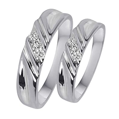 7f48931ae4 RSJ Global Love Couples Rings Cubic Zirconia 14K White Gold Plated in 925  Sterling Silver One