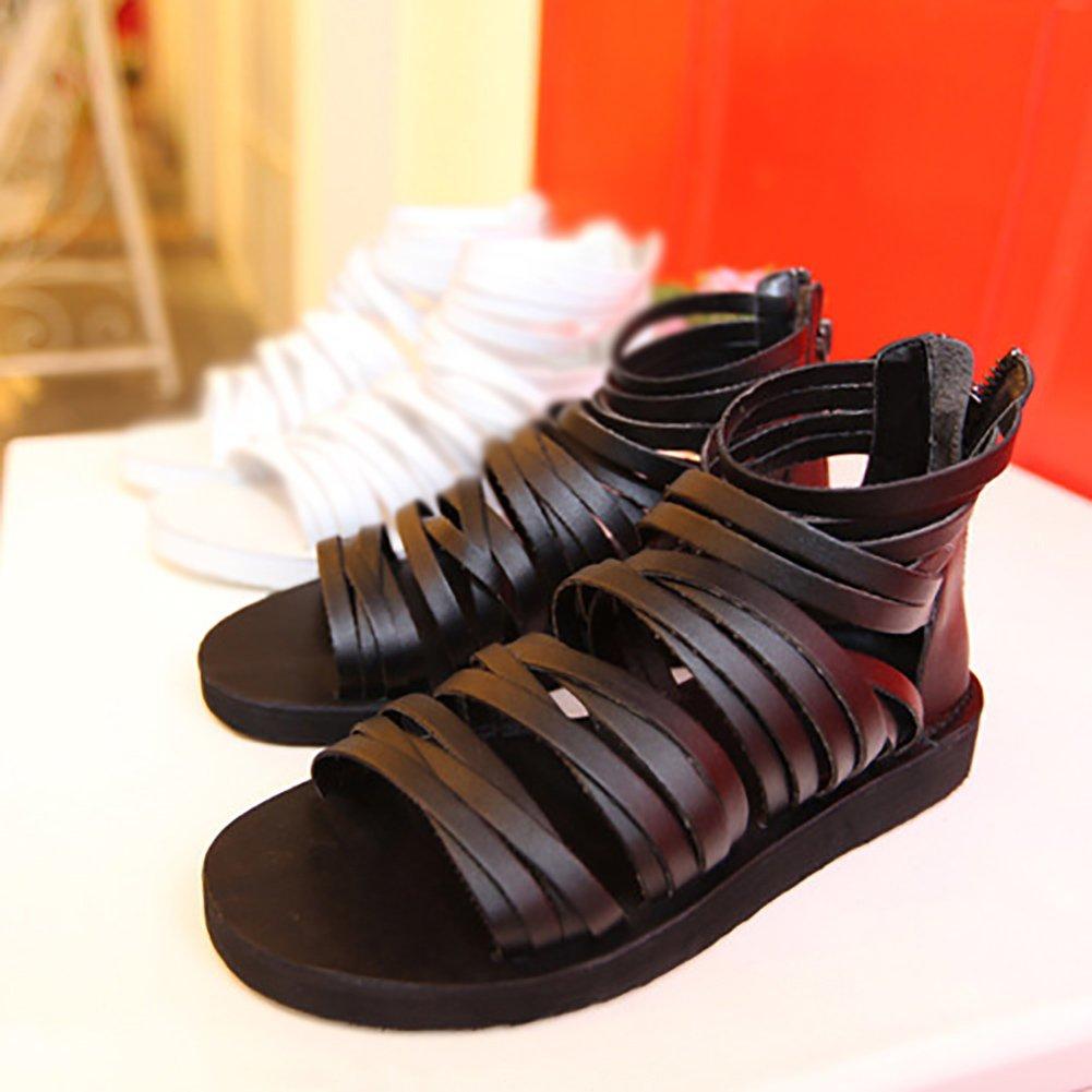 ZJM-sandalia gladiador de hombre Diseño de cremallera creativa de zapatillas de verano (Color : Negro, Tamaño : 45) 45|Negro
