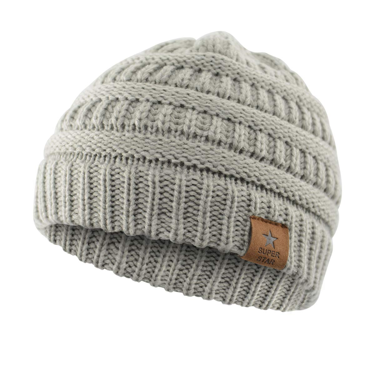 Amazon.com  Durio Soft Warm Infant Toddler Winter Beanies Hats Thick  Knitted Caps Baby Beanies for Boys Girls Babies A 1 Pack Light Grey   Clothing bb6b5e739