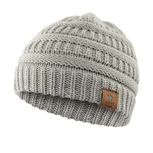 f54378b7f60 Amazon.com  Durio Soft Warm Infant Toddler Winter Beanies Hats Thick  Knitted Caps Baby Beanies for Boys Girls Babies A 1 Pack Light Grey   Clothing