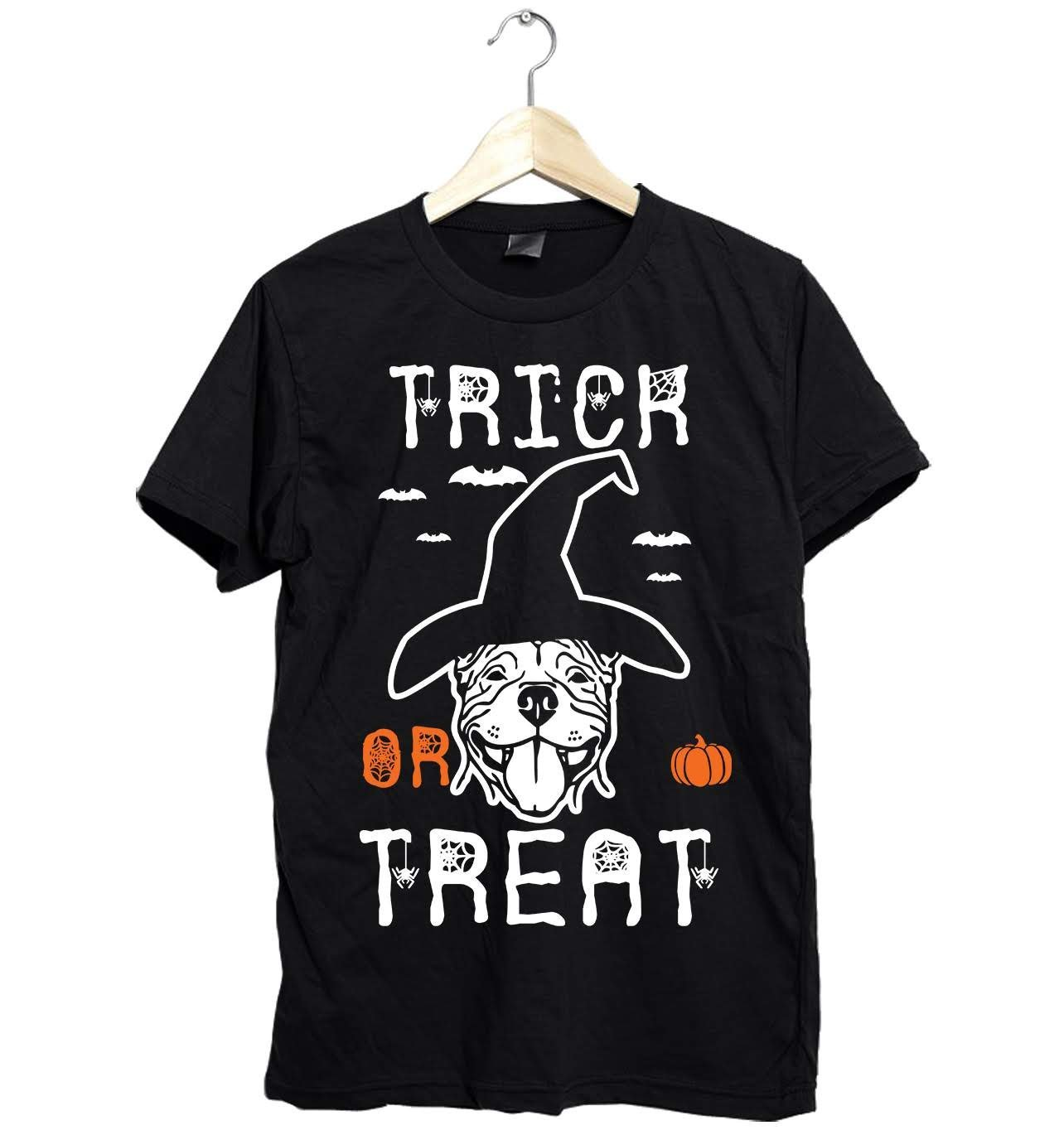 343f8a7e Amazing Pitbull Halloween Trick or Treat Unisex Shirt Gifts Funny Fast  Shipping Size Up To 6XL. If you\'re looking for a funny Trick Or Treat shirt  gift ...