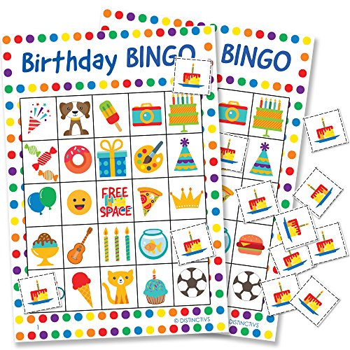 DISTINCTIVS Birthday Bingo Game for Kids - 24