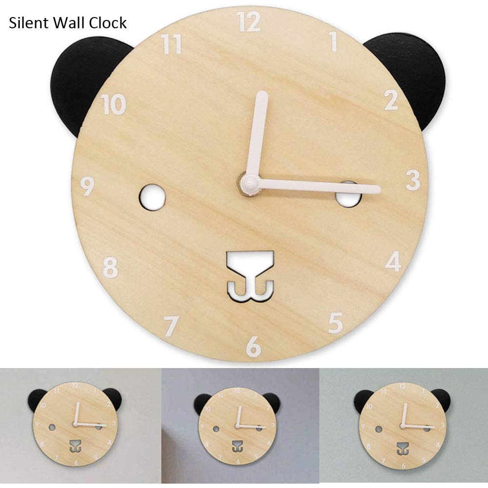 Silent Non Ticking Wall Colck Decorative Bear Shaped Wooden Clocks Cute Battery Operated Clock for Baby Kids Boys Girls Bedroom Décor Nursery School Decorations Children Xmas Birthday Gifts