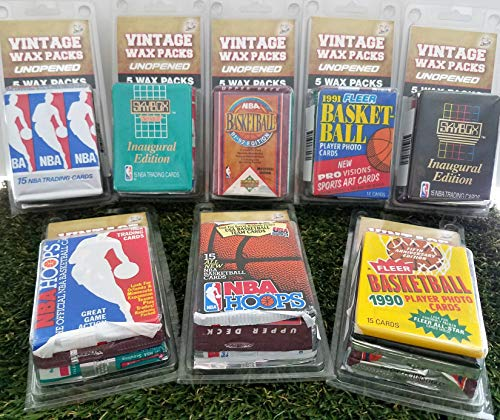 - Over 70 Vintage Basketball Cards in 5 Vintage Unopened Basketball Wax Packs from various brands ranging in years 1989 to 1999. Comes in Custom Souvenir case. Great for 1st time collectors & Birthdays