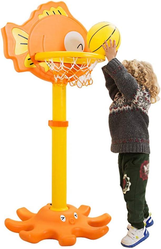 DaQingYuntur キッズバスケットボールフープは、組み立てに設定し、ボールを使って高さ調節可能なバックボードとポンプ屋内屋外のポータブルバスケットボールスタンド&フープセットのおもちゃ、簡単に再生します オレンジ